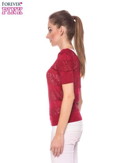 Czerwony ażurowy sweterek w stylu retro                                  zdj.                                  3