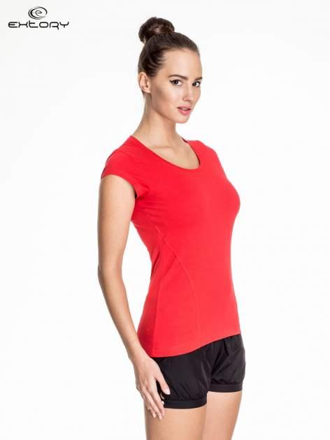 Czerwony damski t-shirt sportowy basic                                  zdj.                                  3