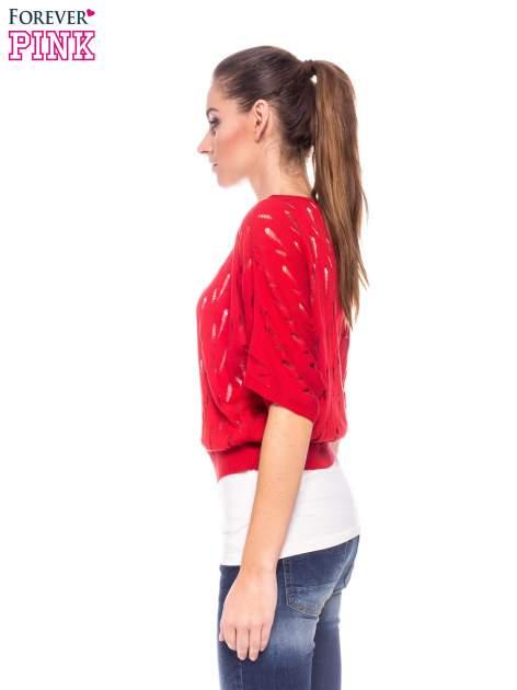 Czerwony krótki ażurowy sweterek                                  zdj.                                  3