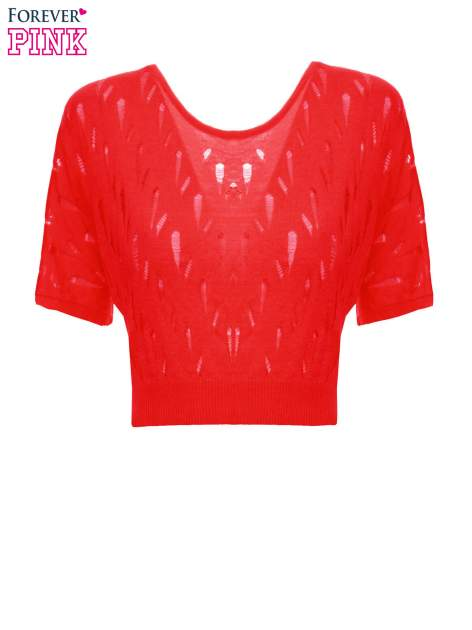 Czerwony krótki ażurowy sweterek                                  zdj.                                  2