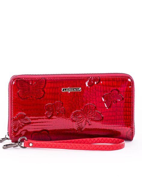 Czerwony lakierowany portfel damski z uchwytem