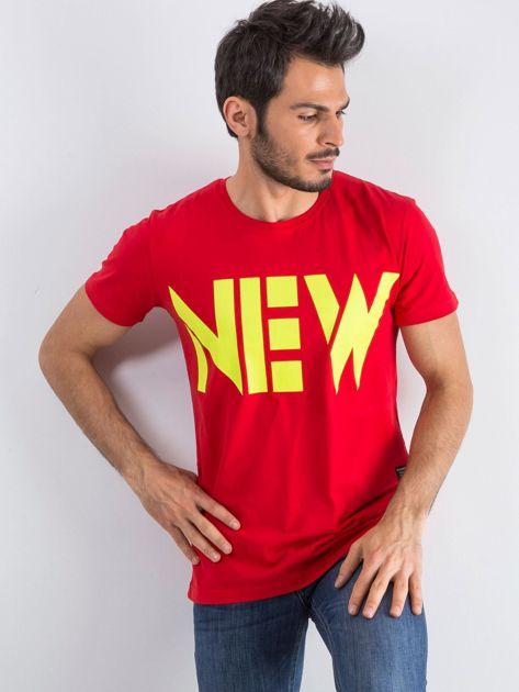 Czerwony męski t-shirt Public                              zdj.                              1