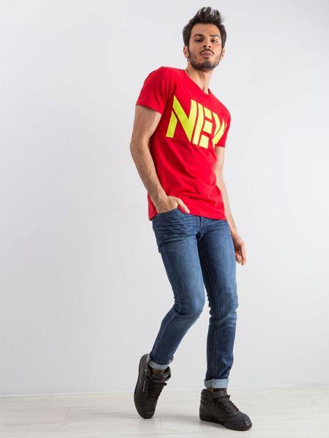 Czerwony męski t-shirt Public                              zdj.                              4