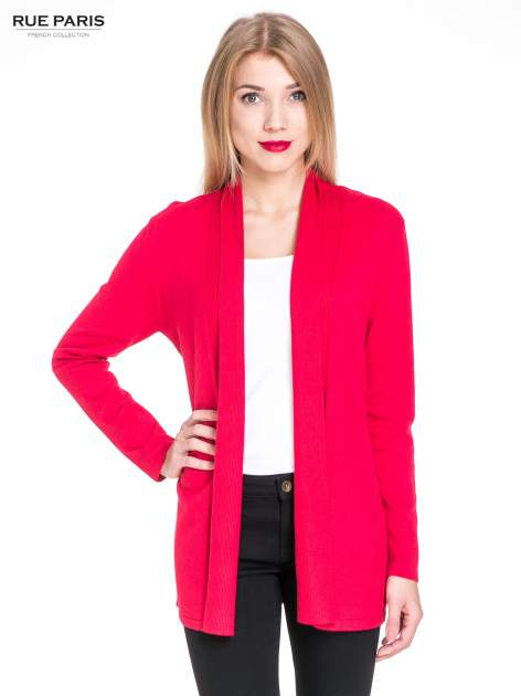 Czerwony otwarty sweter kardigan z prążkowanym kołnierzem