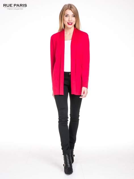 Czerwony otwarty sweter kardigan z prążkowanym kołnierzem                                  zdj.                                  4