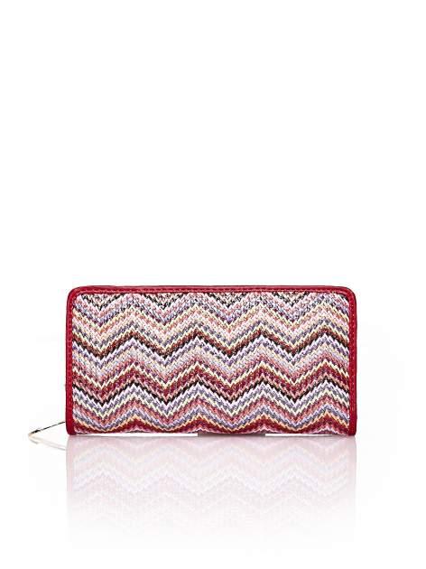 Czerwony pleciony portfel w geometryczne wzory                                  zdj.                                  1