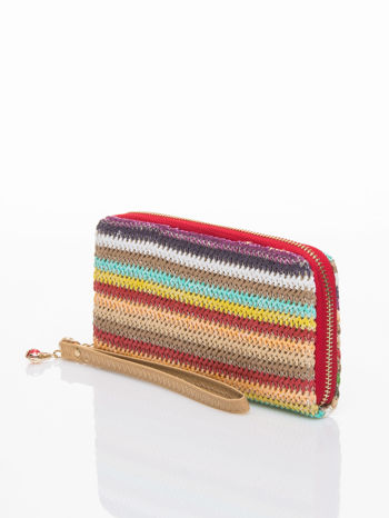 Czerwony pleciony portfel w paski                                  zdj.                                  2