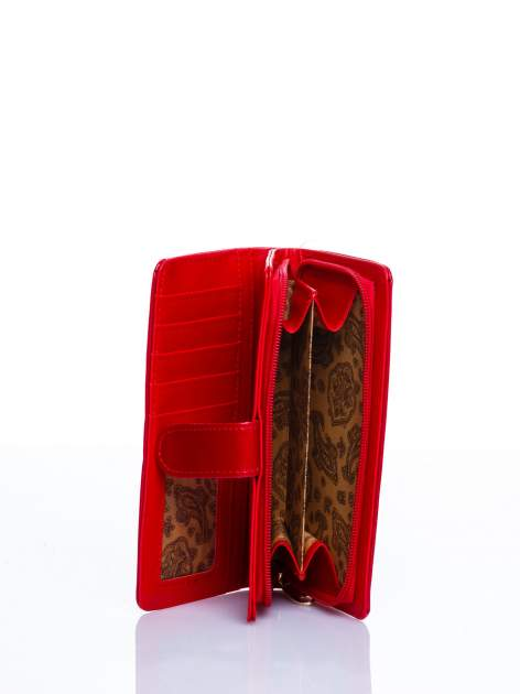 Czerwony portfel efekt skóry saffiano                                  zdj.                                  3