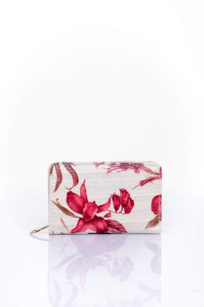 Czerwony portfel z kwiatowym nadrukiem                                  zdj.                                  1