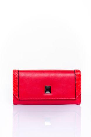 Czerwony portfel z motywem skóry aligatora                                  zdj.                                  1
