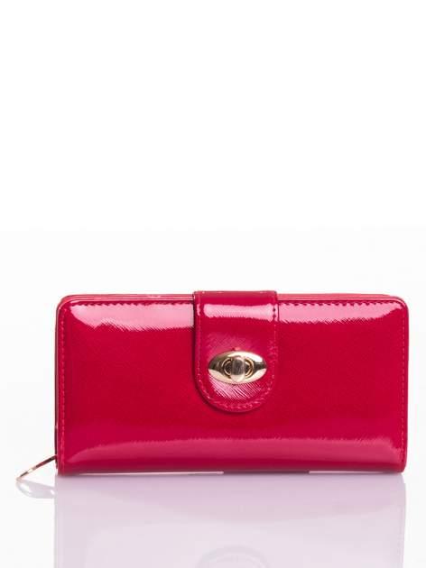 Czerwony portfel ze złotym zapięciem efekt skóry saffiano