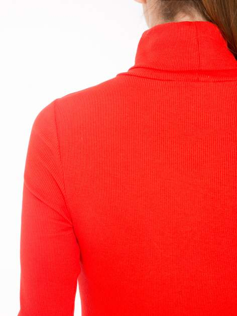 Czerwony prążkowany golf damski                                  zdj.                                  7