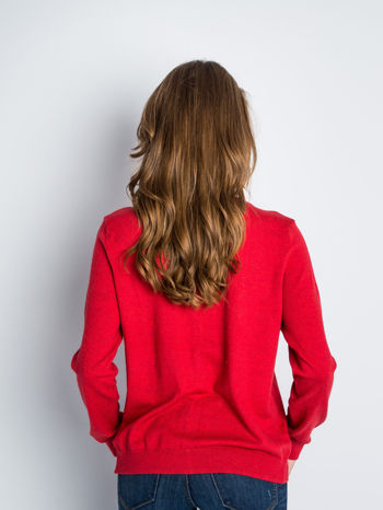 Czerwony rozpinany sweter z bawełny                                  zdj.                                  8