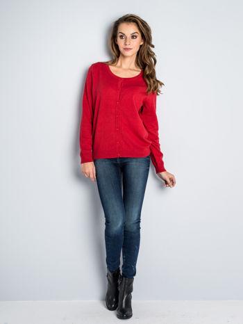 Czerwony rozpinany sweter z bawełny                                  zdj.                                  3