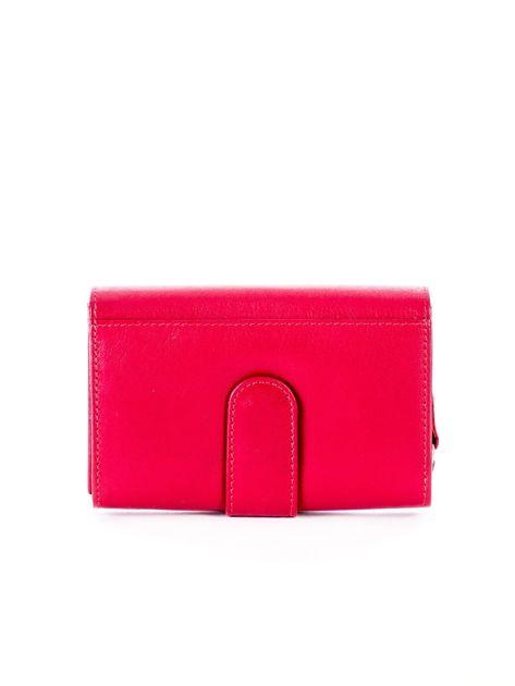 Czerwony skórzany portfel z zapięciem                              zdj.                              2