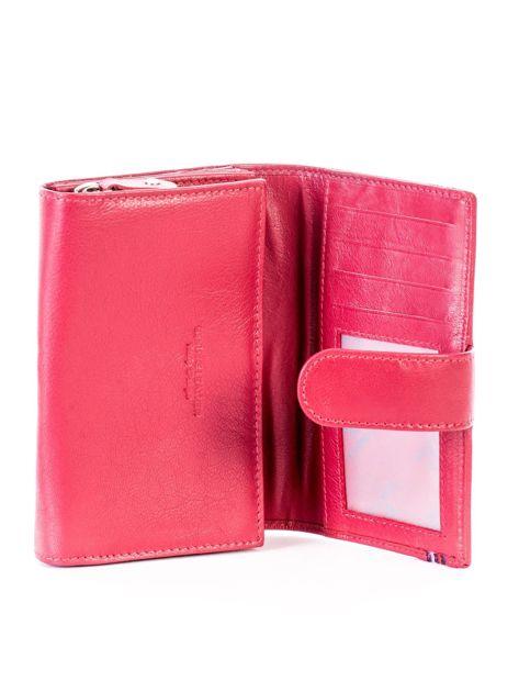 Czerwony skórzany portfel z zapięciem                              zdj.                              4
