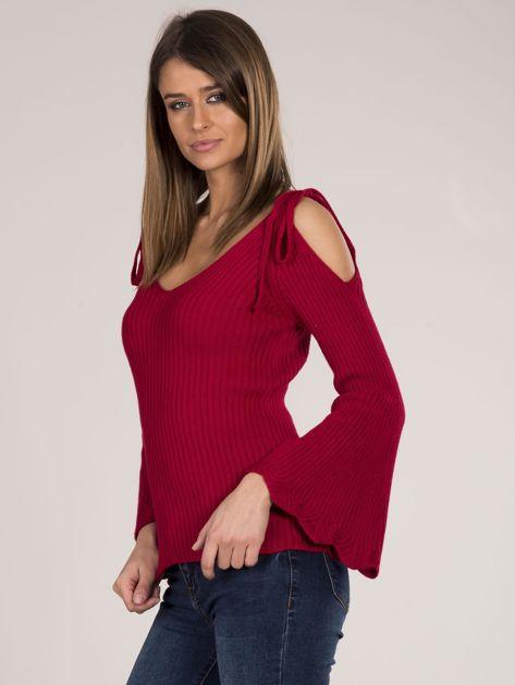 Czerwony sweter cold shoulder                              zdj.                              5