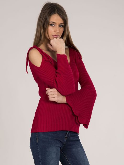 Czerwony sweter cold shoulder                              zdj.                              7