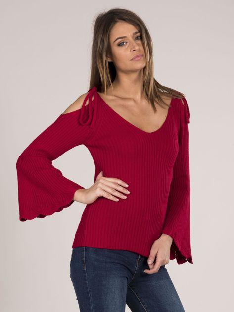 Czerwony sweter cold shoulder                              zdj.                              8