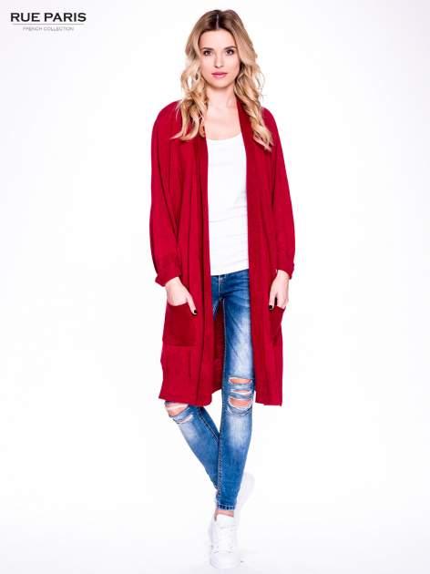 Czerwony sweter długi kardigan z kieszeniami