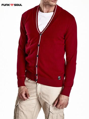 Czerwony sweter męski na guziki Funk n Soul                                   zdj.                                  4