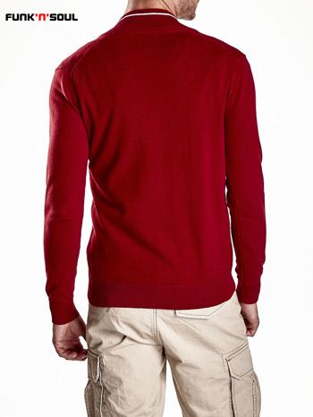 Czerwony sweter męski na guziki Funk n Soul                                   zdj.                                  3