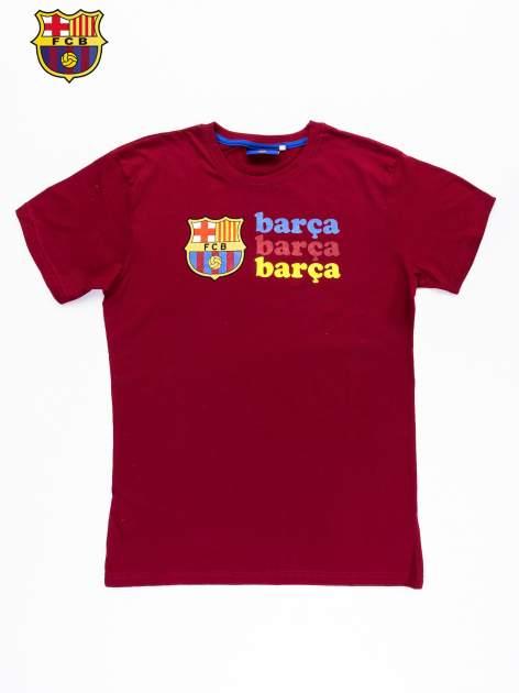 Czerwony t-shirt męski z nadrukiem FC BARCELONA                                  zdj.                                  9