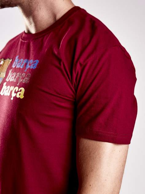 Czerwony t-shirt męski z nadrukiem FC BARCELONA                                  zdj.                                  7