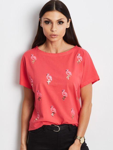 Czerwony t-shirt z cekinowymi ptakami                               zdj.                              1