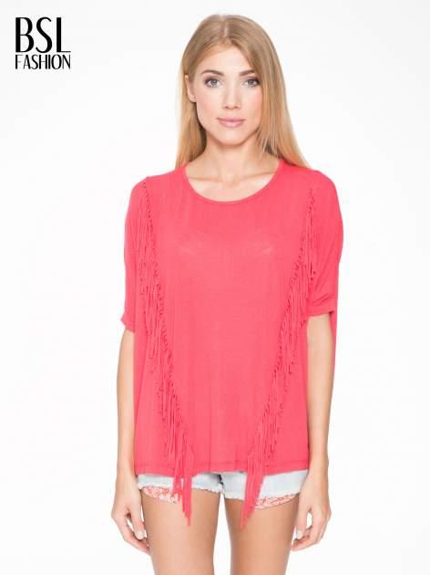 Czerwony t-shirt z frędzlami i siateczkowym tyłem