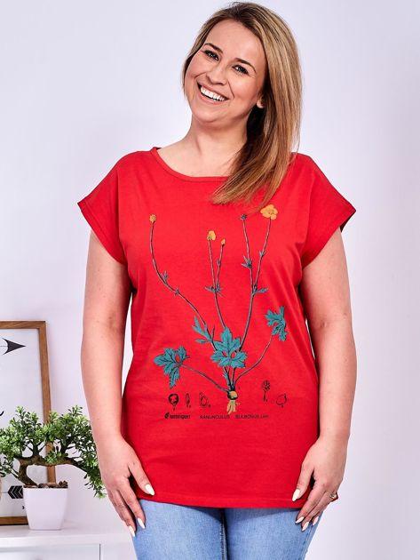 Czerwony t-shirt z jaskrami PLUS SIZE                              zdj.                              1