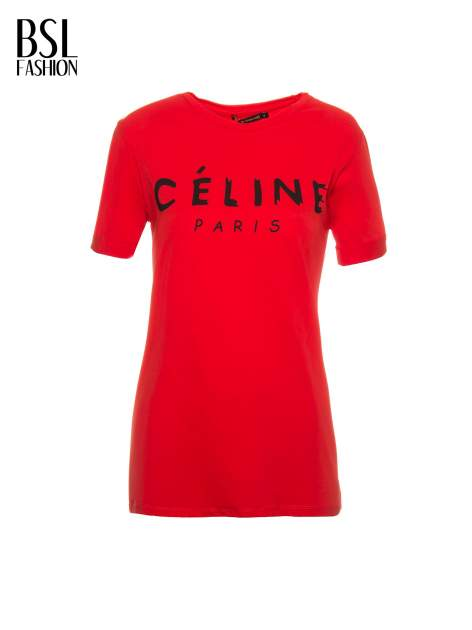 Czerwony t-shirt z modowym napisem CÉLINE PARIS                                  zdj.                                  8