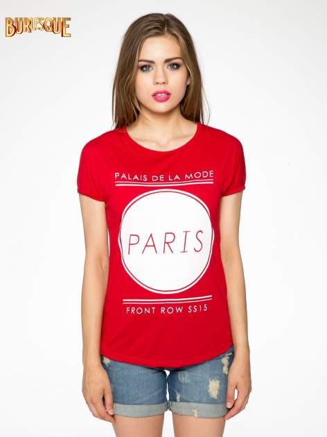 Czerwony t-shirt z nadrukiem PARIS                                  zdj.                                  10