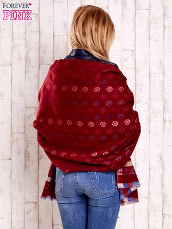 Czerwony wełniany szalik z geometrycznymi motywami                                  zdj.                                  5