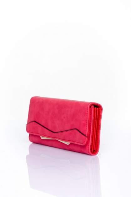 Czerwony zamszowy portfel z geometrycznym motywem                                  zdj.                                  3