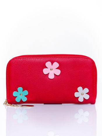 Czerwony zasuwany portfel w kwiatki                                  zdj.                                  1