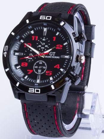 DLA NIEGO... Czarno-czerwony sportowy zegarek męski GT GRAND TOURING