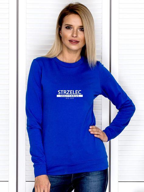 Damska bluza ze znakiem zodiaku STRZELEC kobaltowa                              zdj.                              1