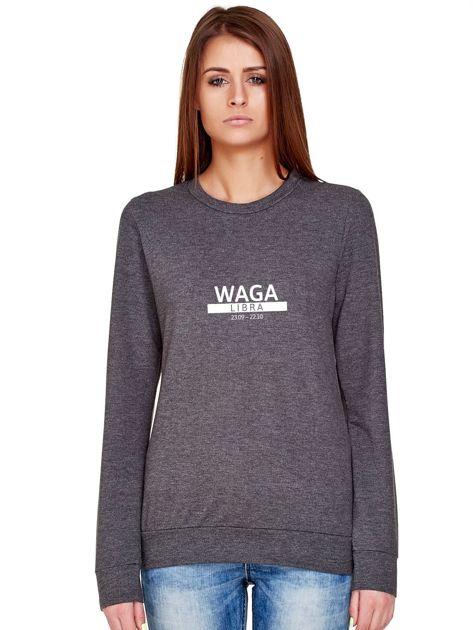 Damska bluza ze znakiem zodiaku WAGA ciemnoszara                              zdj.                              1