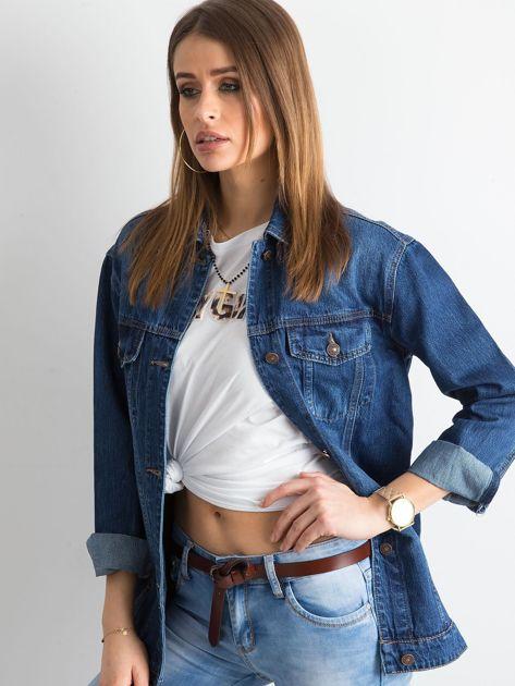 Damska jeansowa kurtka niebieska                              zdj.                              3
