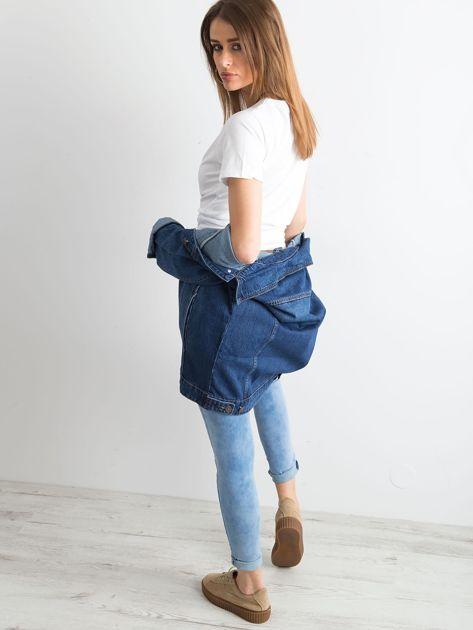 Damska jeansowa kurtka niebieska                              zdj.                              6
