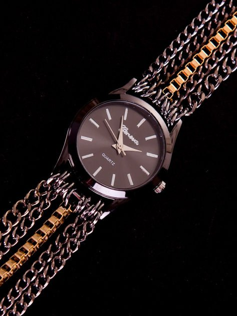 Damski czarny zegarek na bransolecie z łańcuszków zawijany na nadgarstku