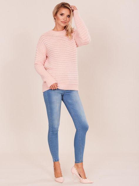 Damski jasnoróżowy sweter damski                              zdj.                              4