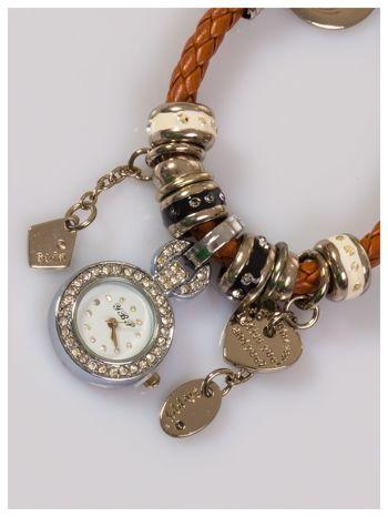 Damski zegarek na skórzanej bransolecie ozdobionej koralikami pandory                                  zdj.                                  2