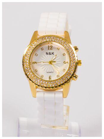 Damski zegarek z cyrkoniami na wygodnym silikonowym pasku                                  zdj.                                  1