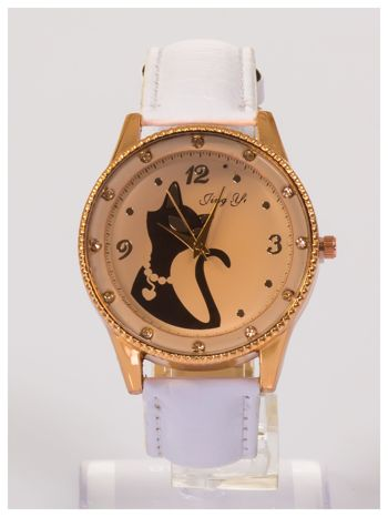 Damski zegarek z cyrkoniami z motywem kotka na tarczy, na lakierowanym białym pasku