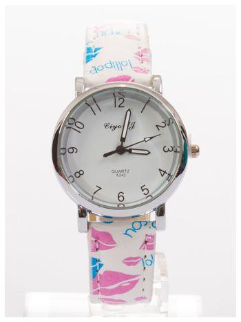 Damski zegarek z motywem ust na pasku