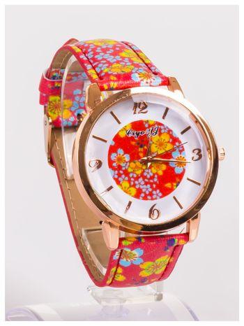 Damski zegarek z ozdobnym motywem kwiatowym na pasku oraz dużej tarczy                                   zdj.                                  3