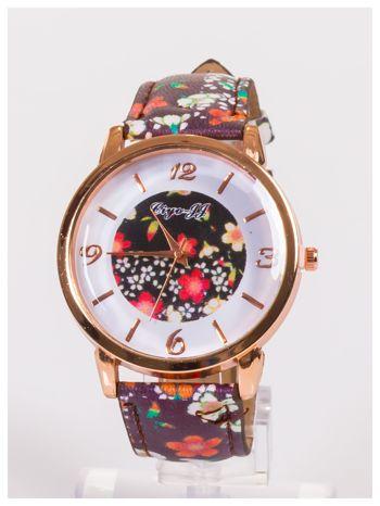 Damski zegarek z ozdobnym motywem kwiatowym na pasku oraz dużej tarczy                                   zdj.                                  1