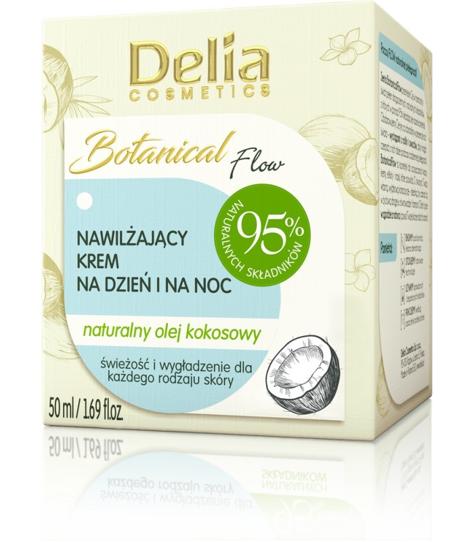 """Delia Cosmetics Botanic Flow Krem nawilżający z olejem kokosowym na dzień i noc  50ml"""""""